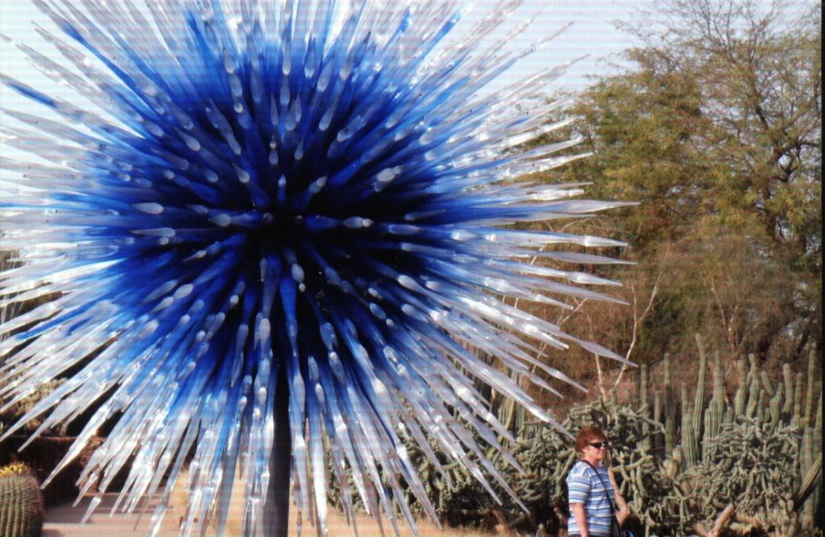 A beautiful sculpture resembling an exploding blue star