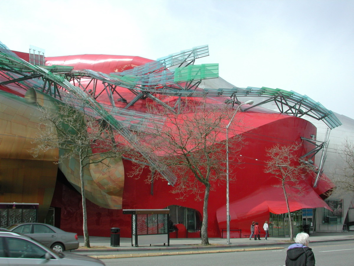 This crazy looking building is the Experience Music Project in Seattle.