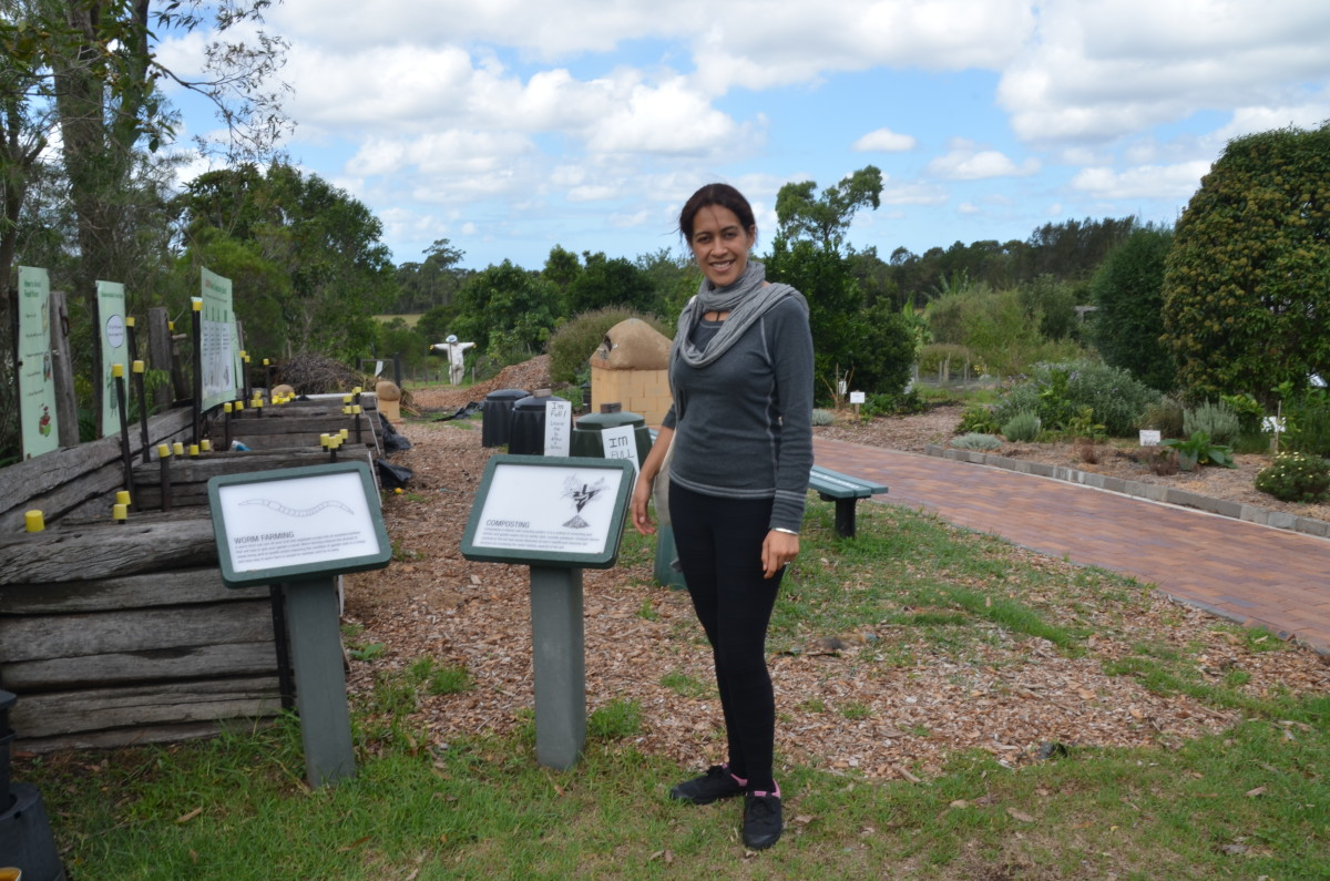 The writer checking out the composting system