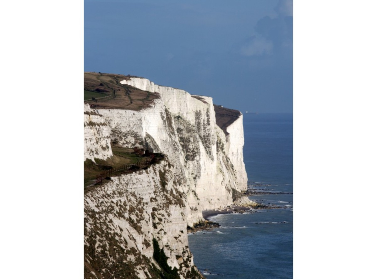 The White Cliffs of Dover, the site of the Fan Bay Battery and Deep Shelter.