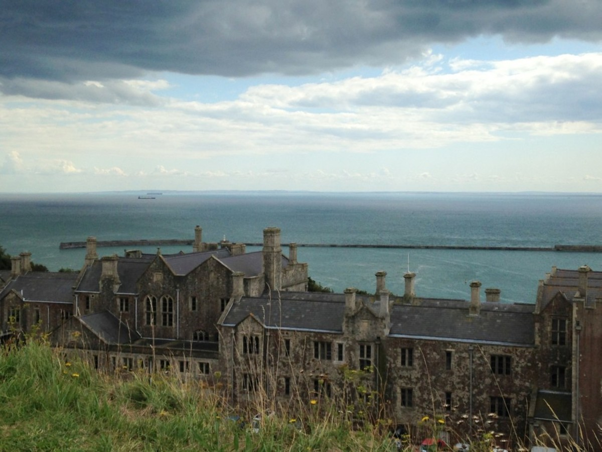 A view across the English Channel towards France, taken from behind Dover Castle.
