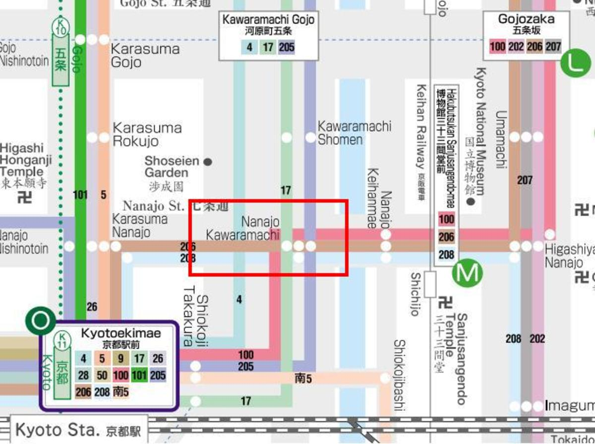 One bus stop is Nanajo Kawaramachi. Notice that there are 3 dots in it. This means that buses 17, 206 and 205 stop here. Look at the line colors carefully.