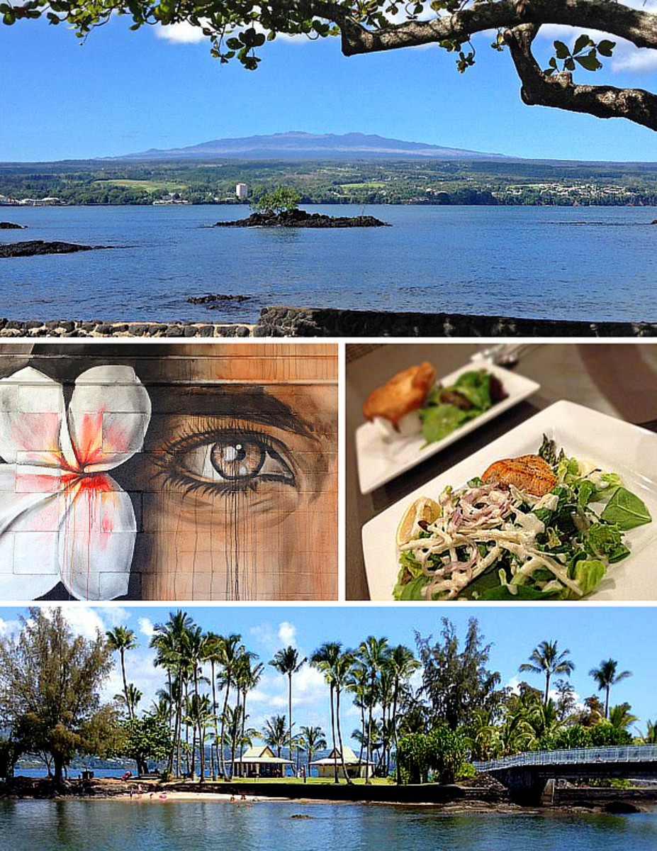 Top: View of Mauna Kea volcano over Hilo Bay. Center: a mural in downtown Hilo (left); grilled ahi salad and Hamakua mushroom curry pot pie at Hilo Bay Cafe (right). Bottom: Coconut Island.