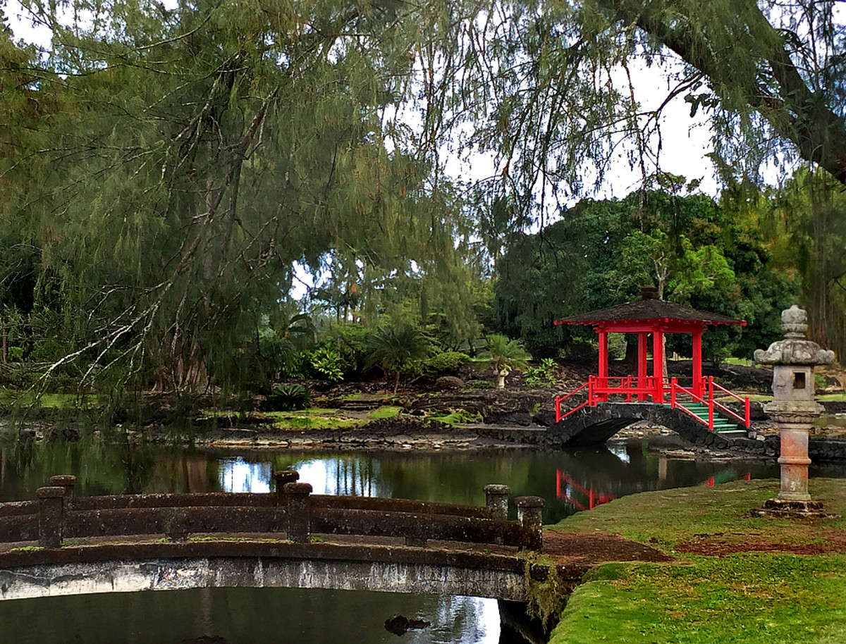 Peaceful Japanese garden on Hilo's bayfront.