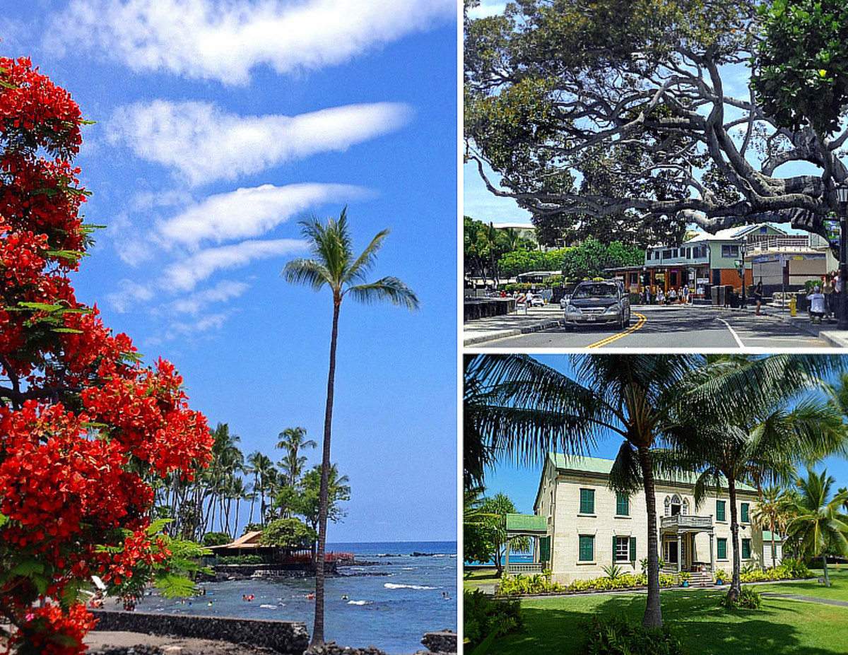 Clockwise from left: Kahaluu Beach Park in Kailua-Kona; bay front shopping district; Hulihee Palace.