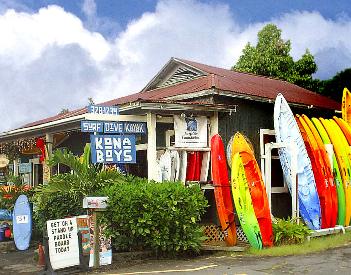 Popular shop near Kailua-Kona to rent kayaks, surfboards, and snorkeling equipment.