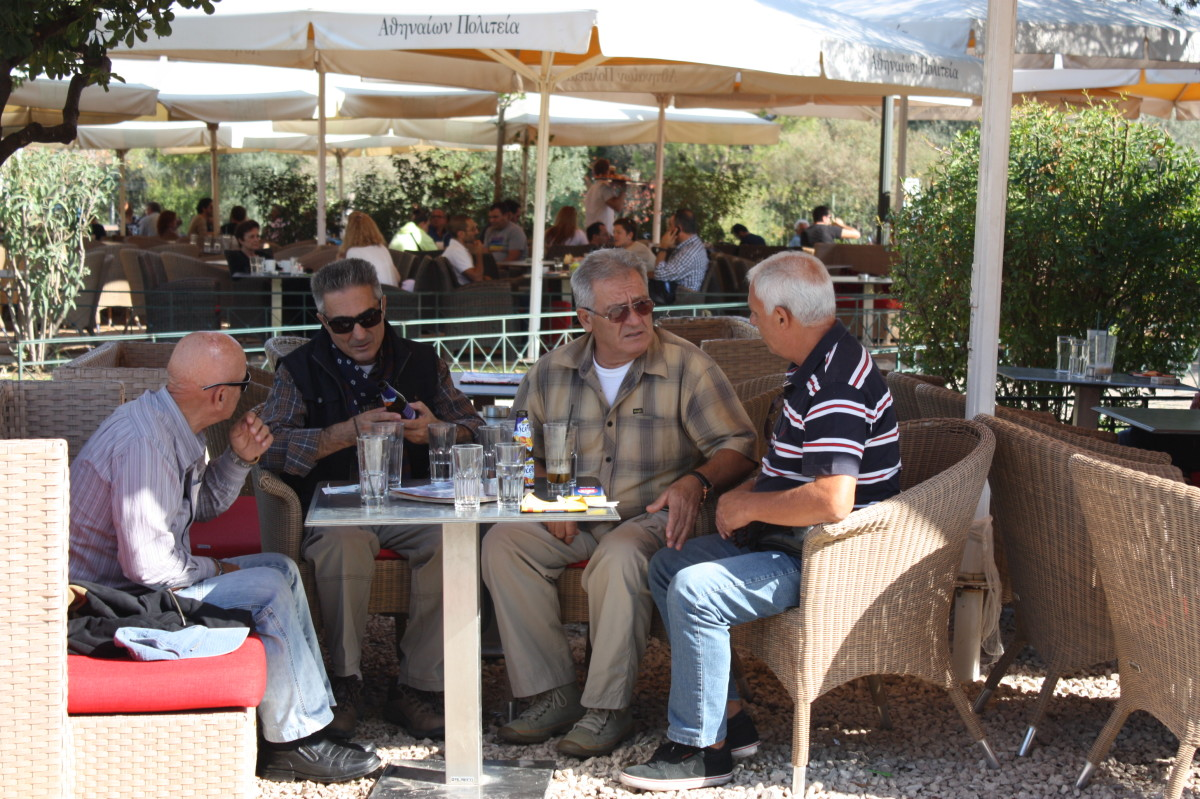 Locals at a restaurant in Athens