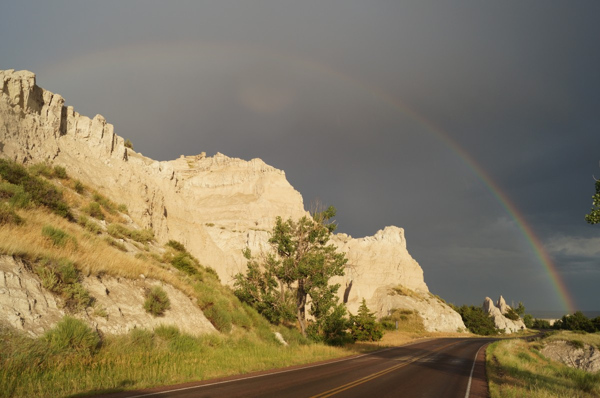 Entering the Badlands after a rainstorm. It was late in the day and I had to stop the car to snap this breathtaking view.