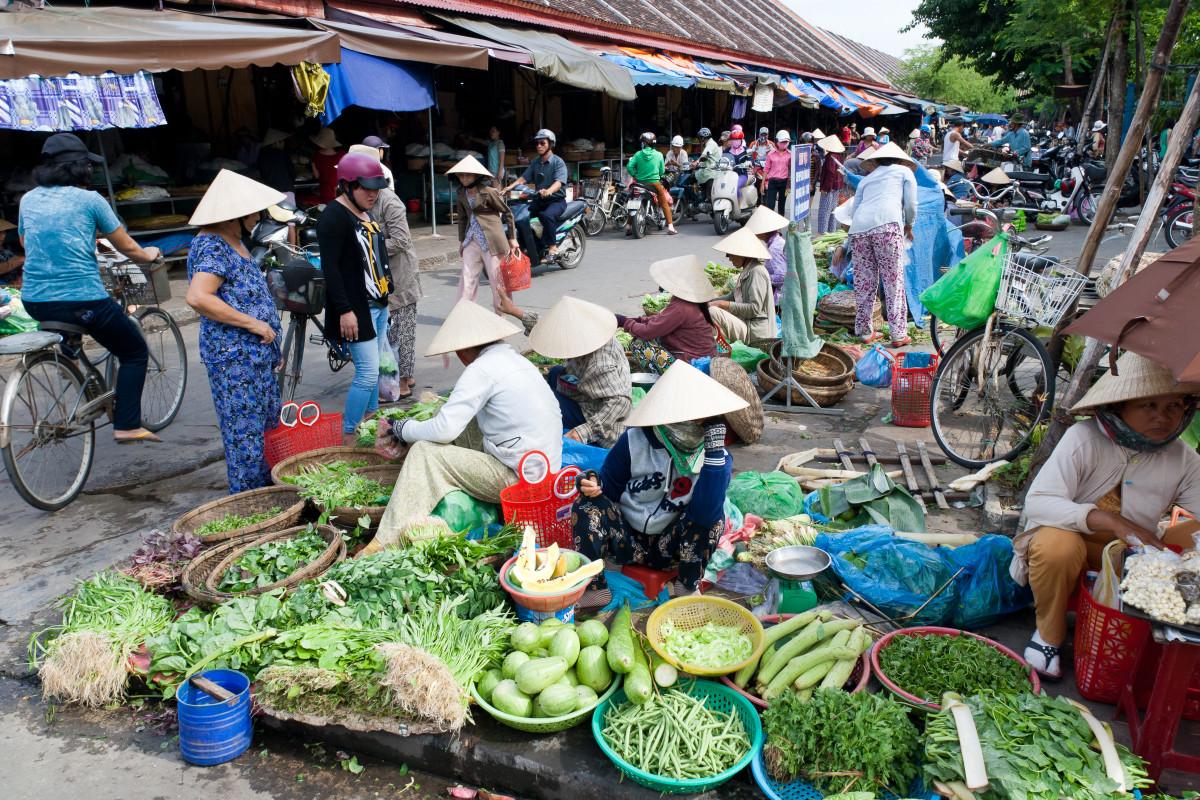 A busy street market in Hoi An, Vietnam