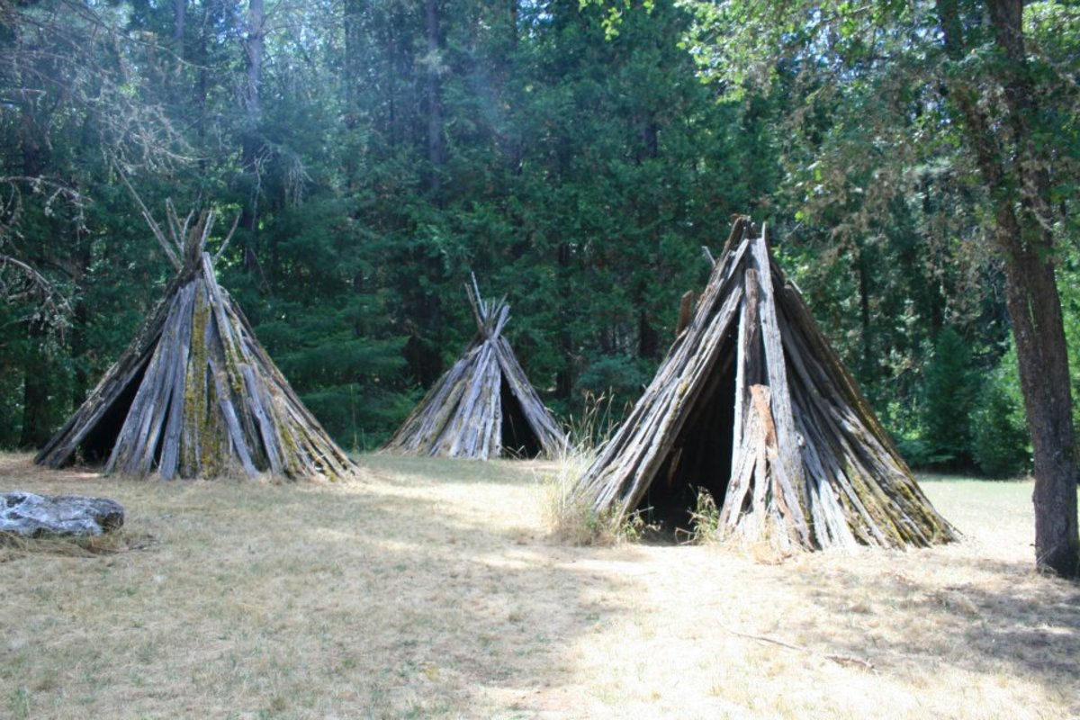 Several bark houses show visitors to the park how Miwok people lived before settlers from around the world came to California.