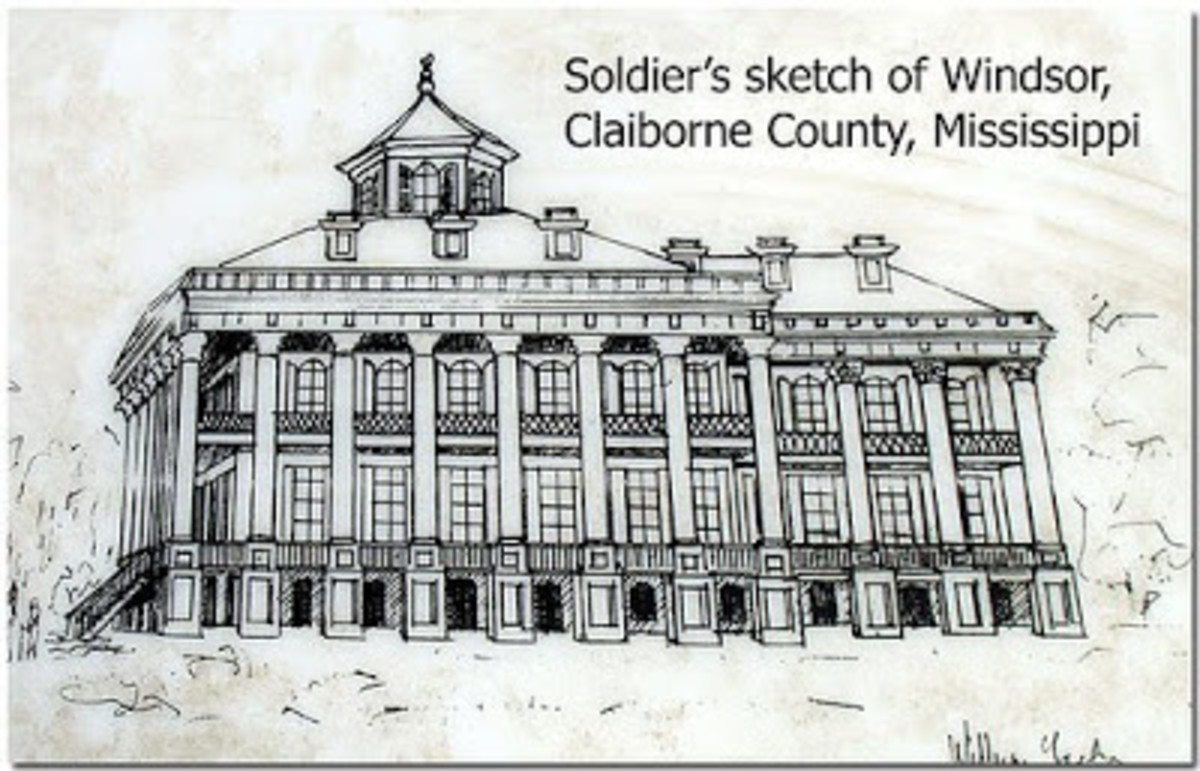 Soldier's sketch of Windsor Plantation Home. The only known look at what the original home looked like