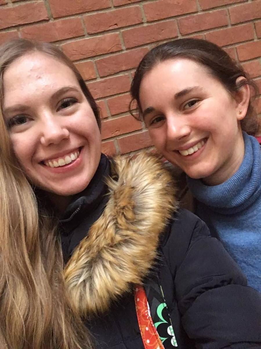 We met at a hostel in Israel, but we met again in England!