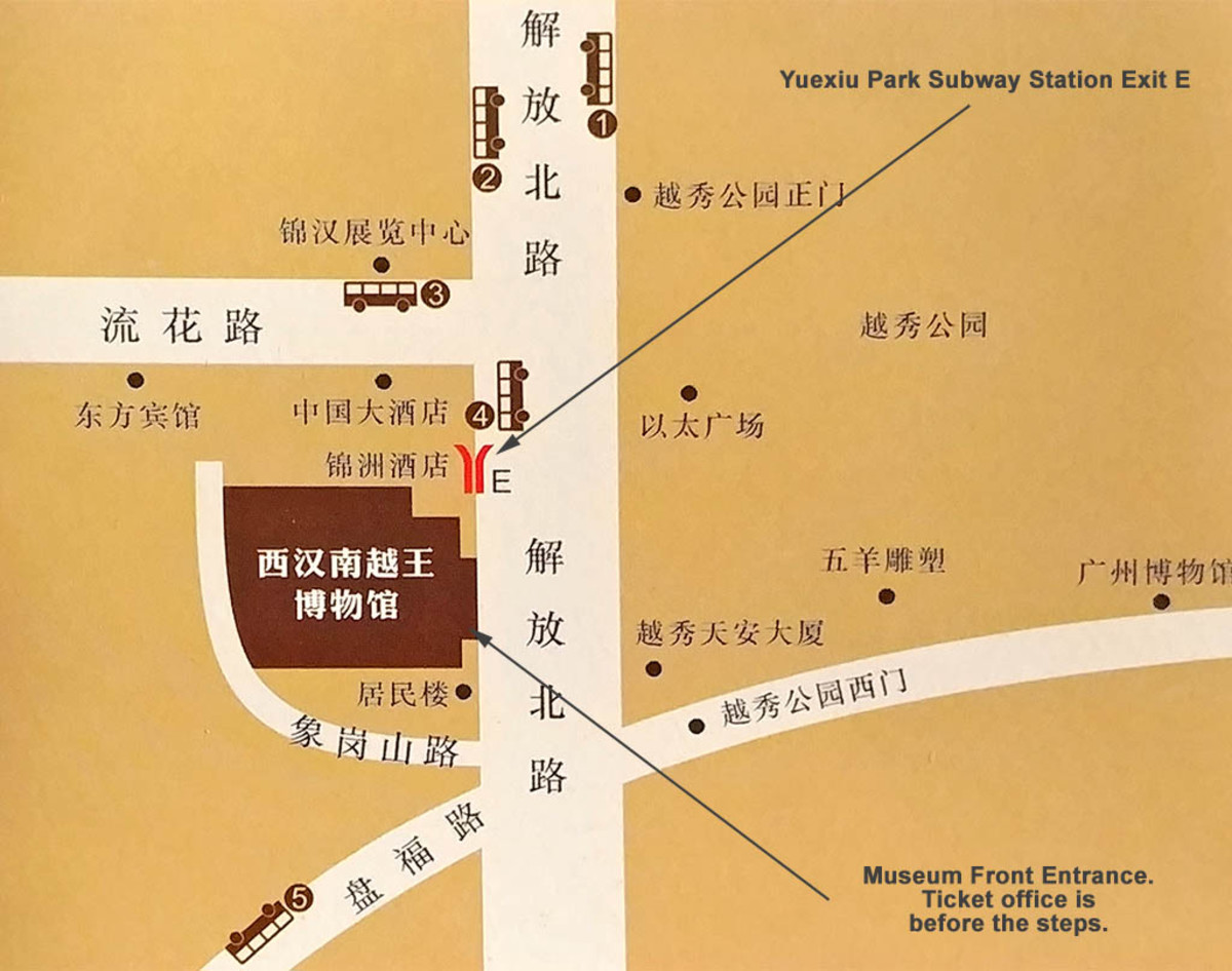 Access information from the official museum brochure, With English indications of subway exit and museum entrance.