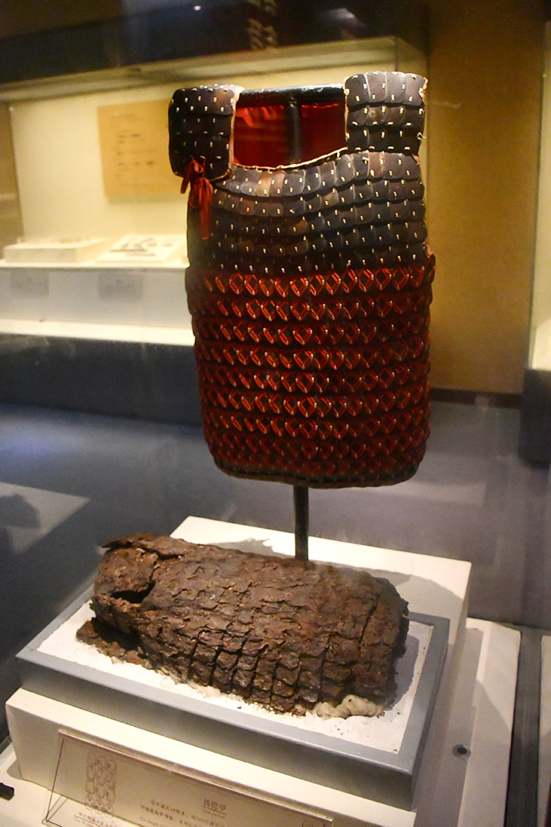 Reconstructed plate mail armor based on excavated remains.