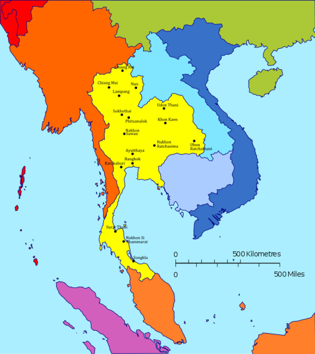 Map of Thailand in relation to Southeast Asia