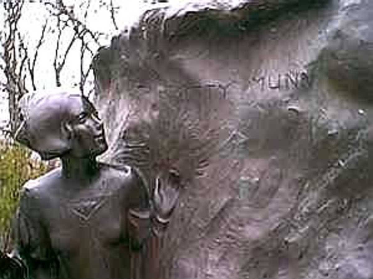 Spot Where the Name Betty Munn is Inscribed on the Peter Pan Statue
