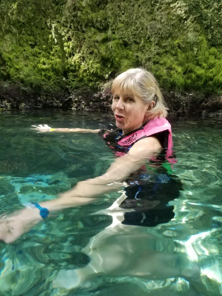 Author entering the underground river
