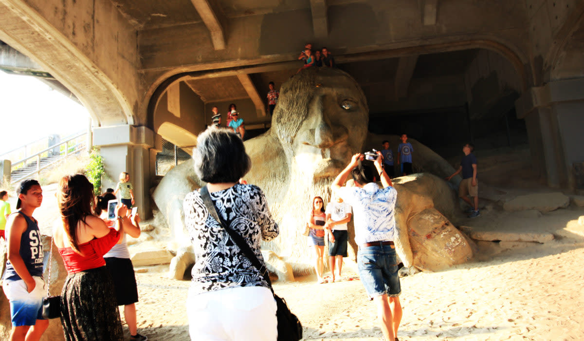 Kids checking out the Troll