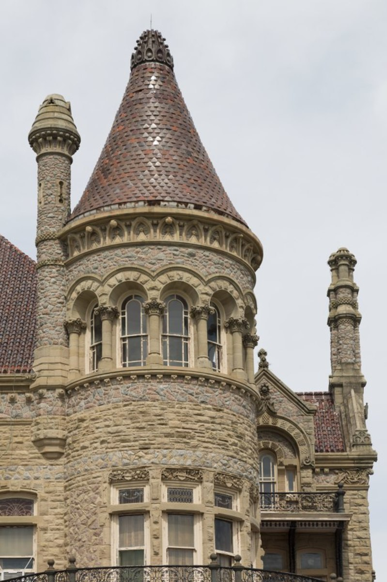 "Turret of ""Bishop's Palace,"" also known as Gresham's Castle, an ornate Victorian-style house, located on Broadway and 14th Street in the East End Historic District of Galveston, Texas"