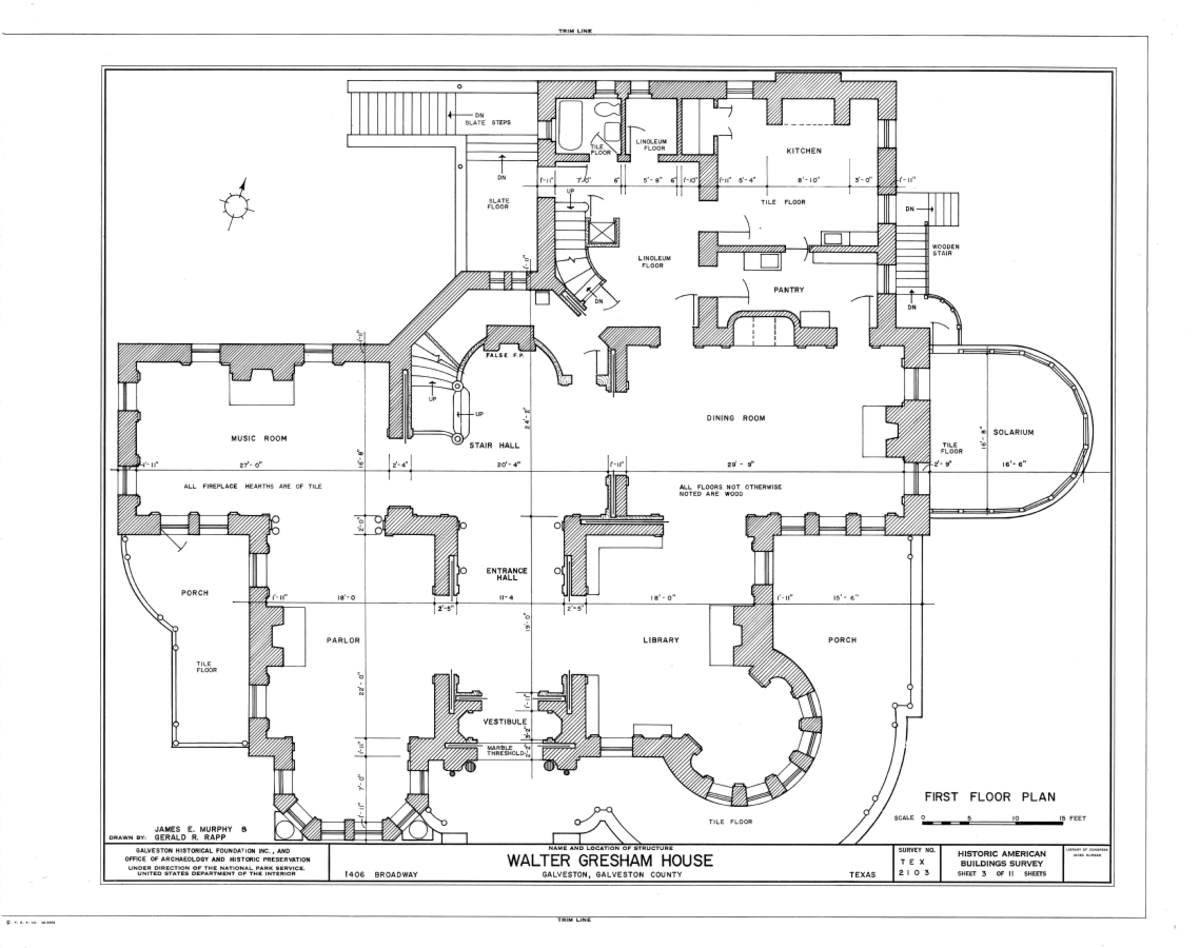 First floor plan of Colonel Walter Gresham House, 1402 Broadway, Galveston, Galveston County, TX