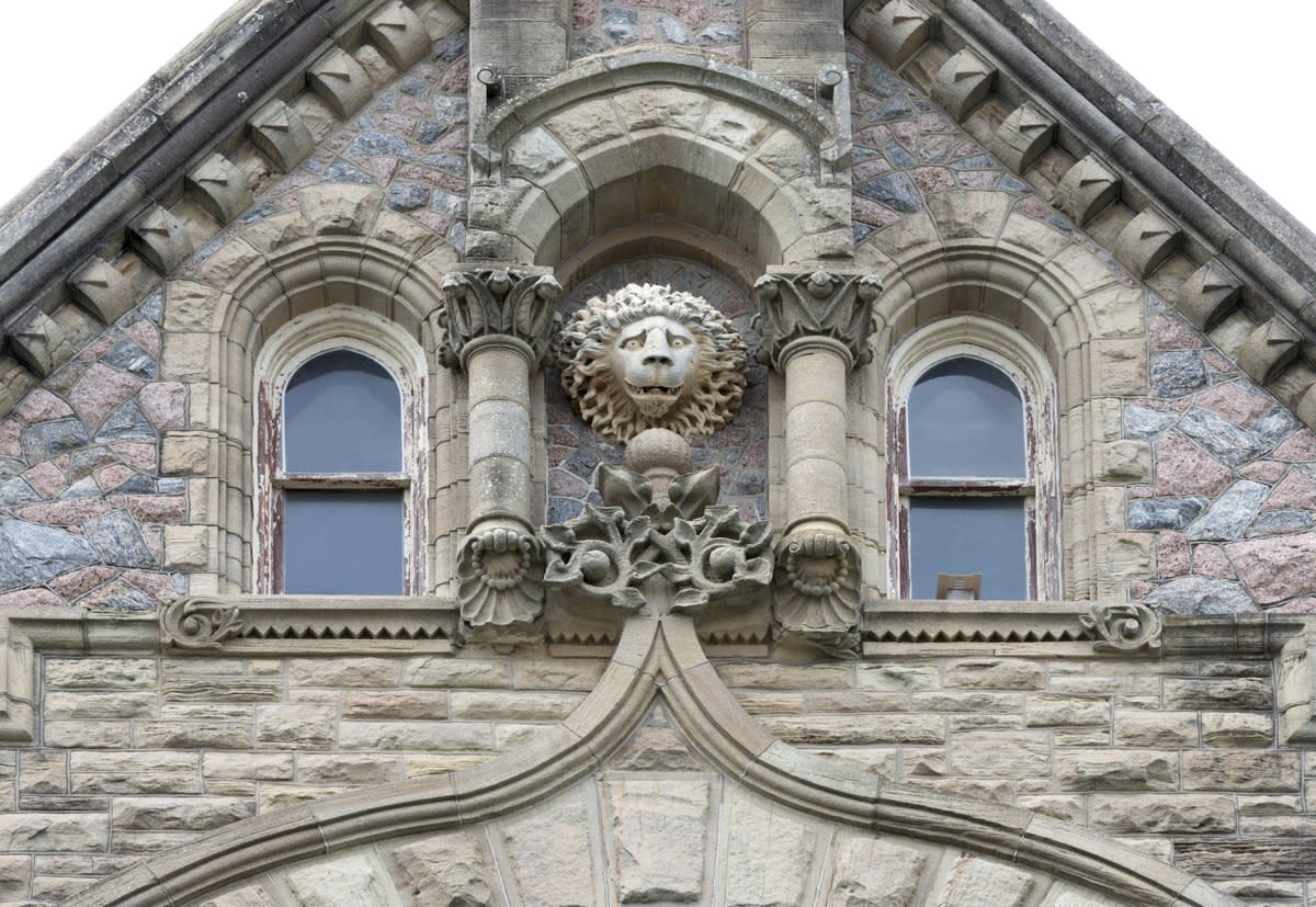 "Decorative design elements on the facade of ""Bishop's Palace,"" also known as Gresham's Castle, an ornate Victorian-style house, located on Broadway and 14th Street in the East End Historic District of Galveston, Texas"