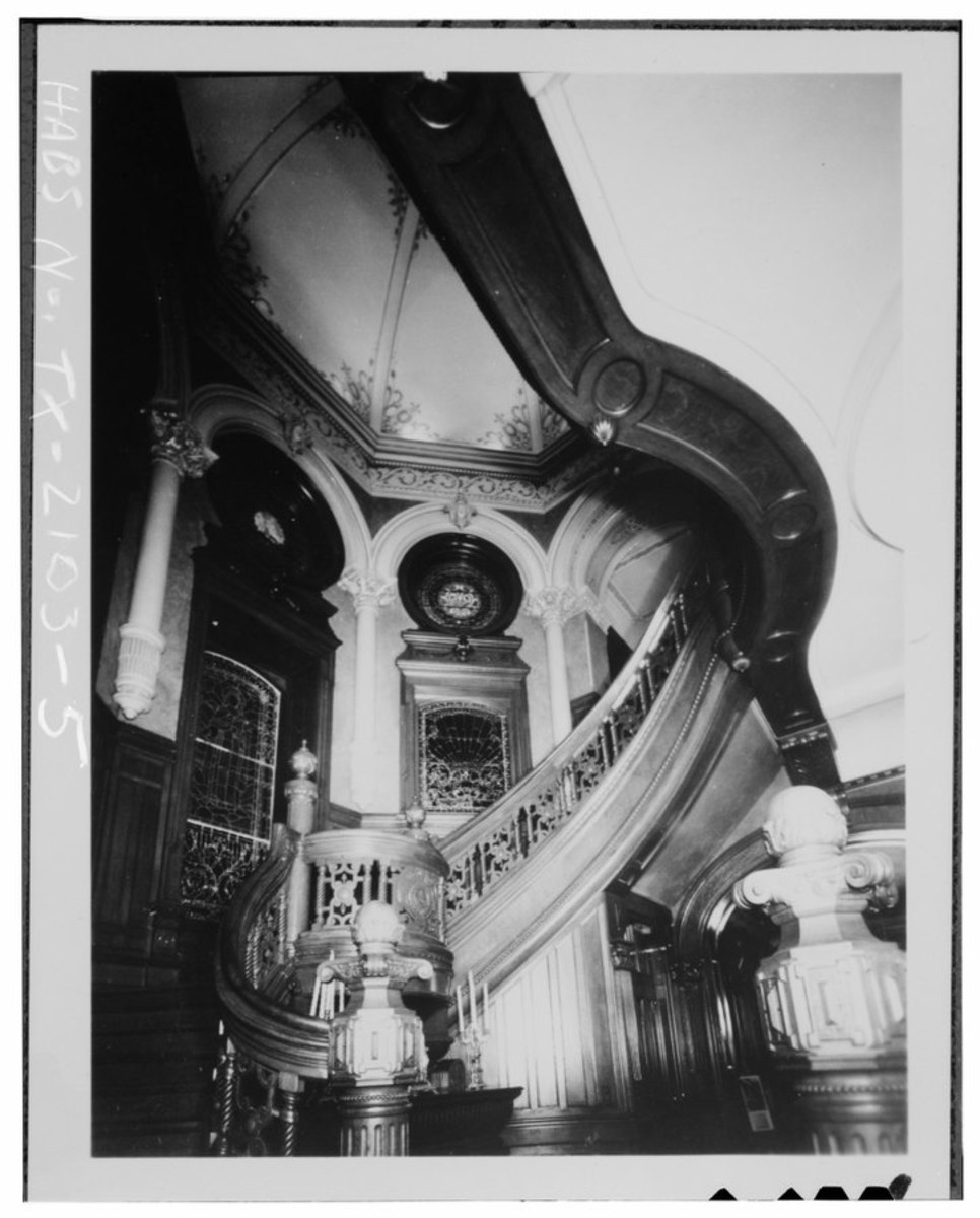 INTERIOR VIEW OF CENTER STAIR FROM BOTTOM LANDING - Colonel Walter Gresham House, 1402 Broadway, Galveston, Galveston County, TX