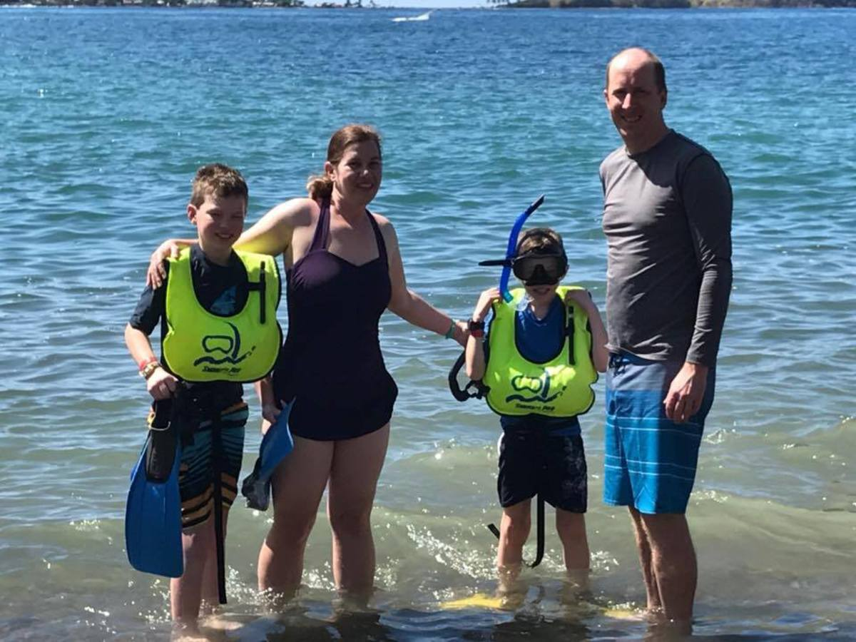 Getting ready to snorkel in the bubbling water near Soufriere. Our family loved the active volcanic sea floor and warm bubbles!