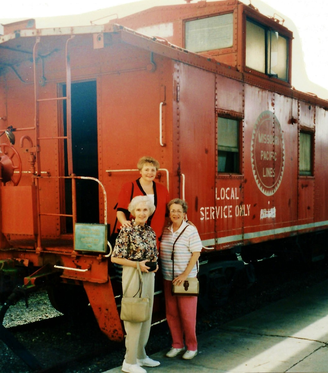 My mother,  aunt and I at the Galveston Railroad Museum