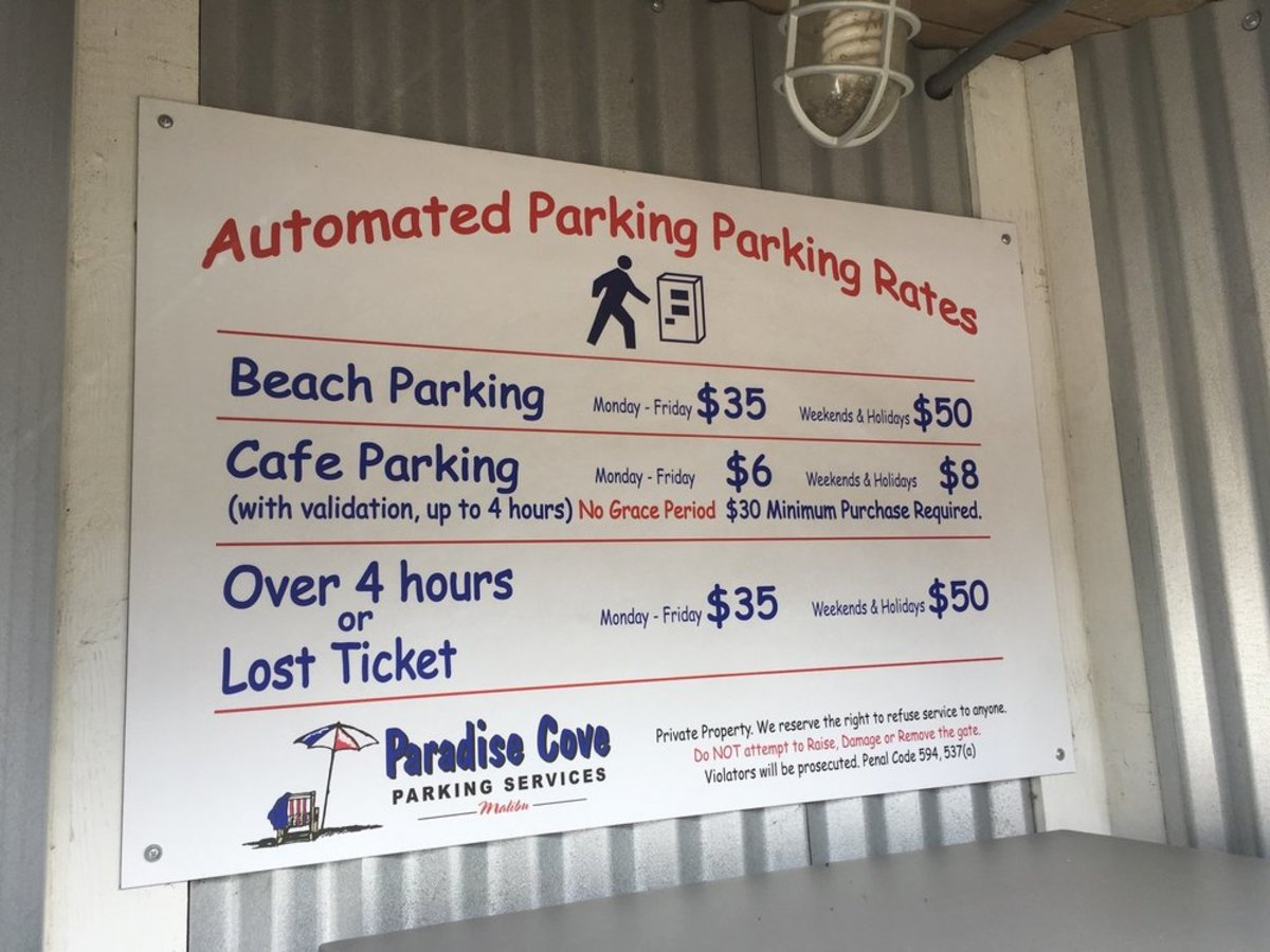 Paradise Cove Beach Cafe Parking Services Sign
