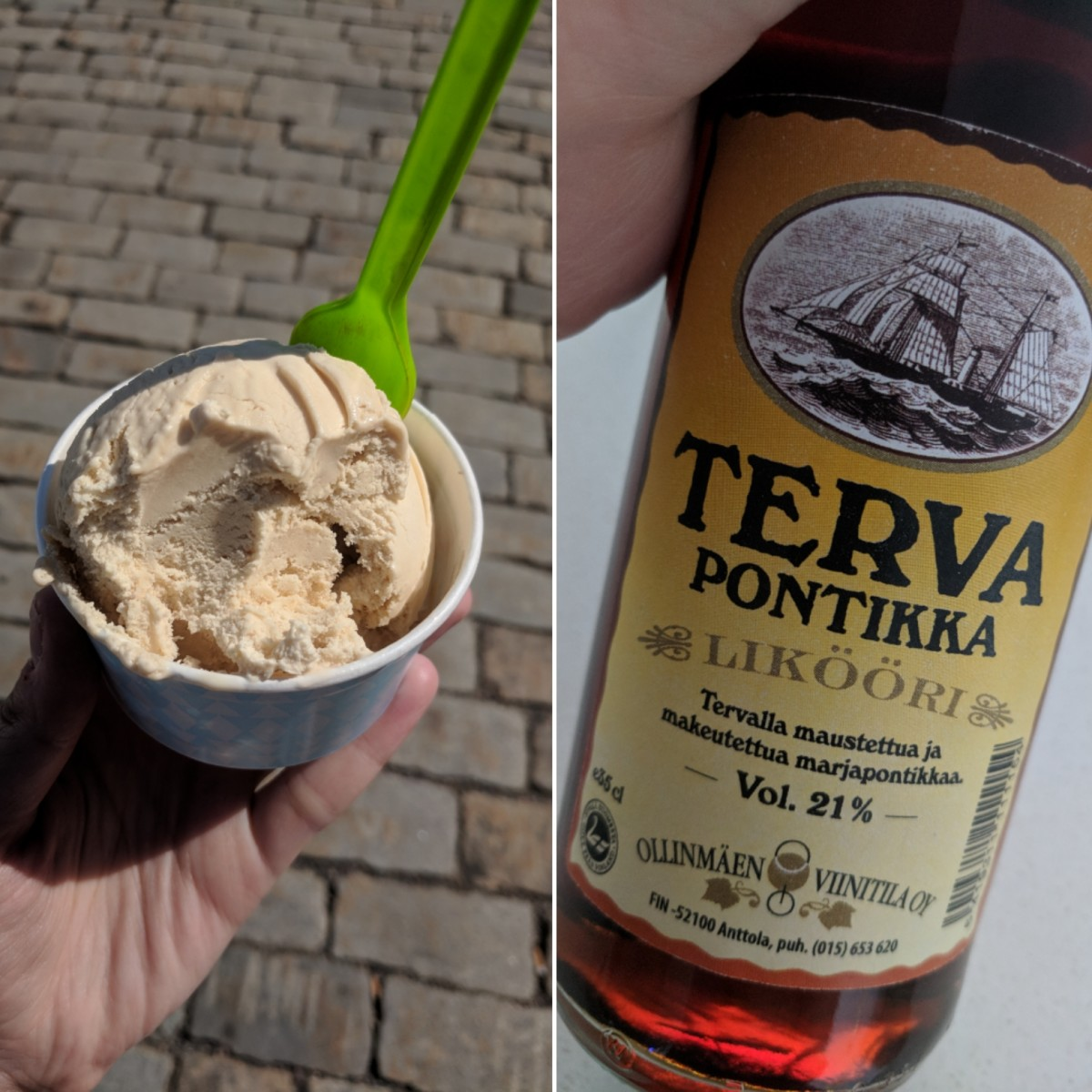 Terva ice cream and liqueur.