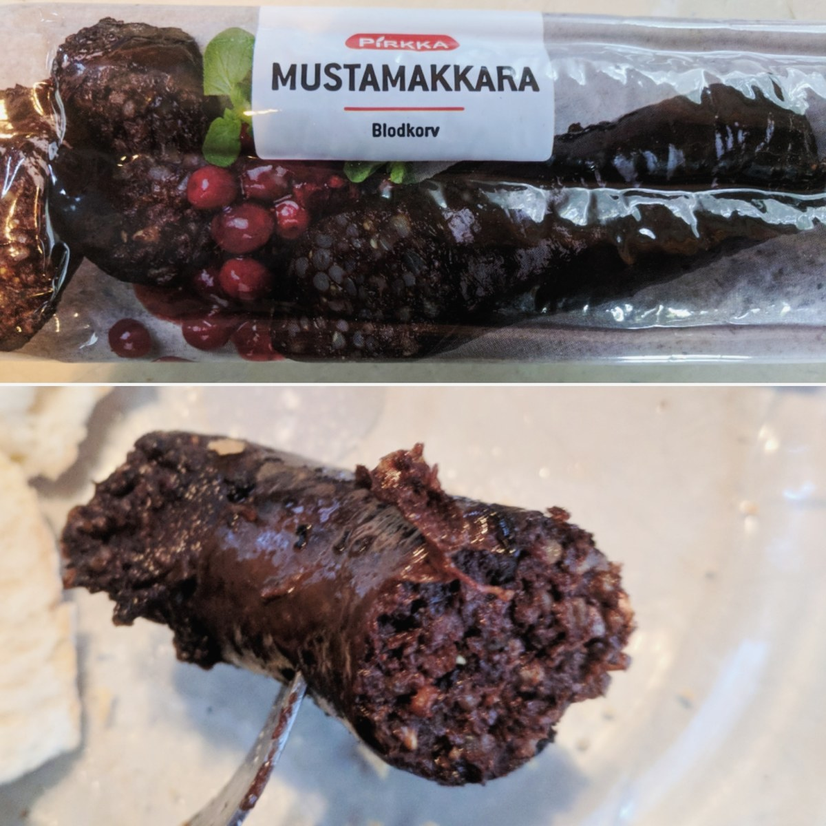 Mustamakkara in and out of the package.