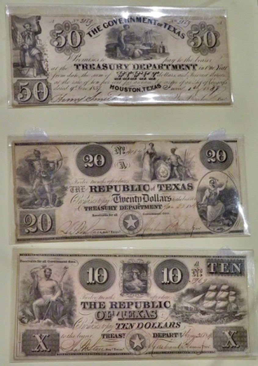 Old historic Texas Treasury Notes dated 1838, 1840 & 1846