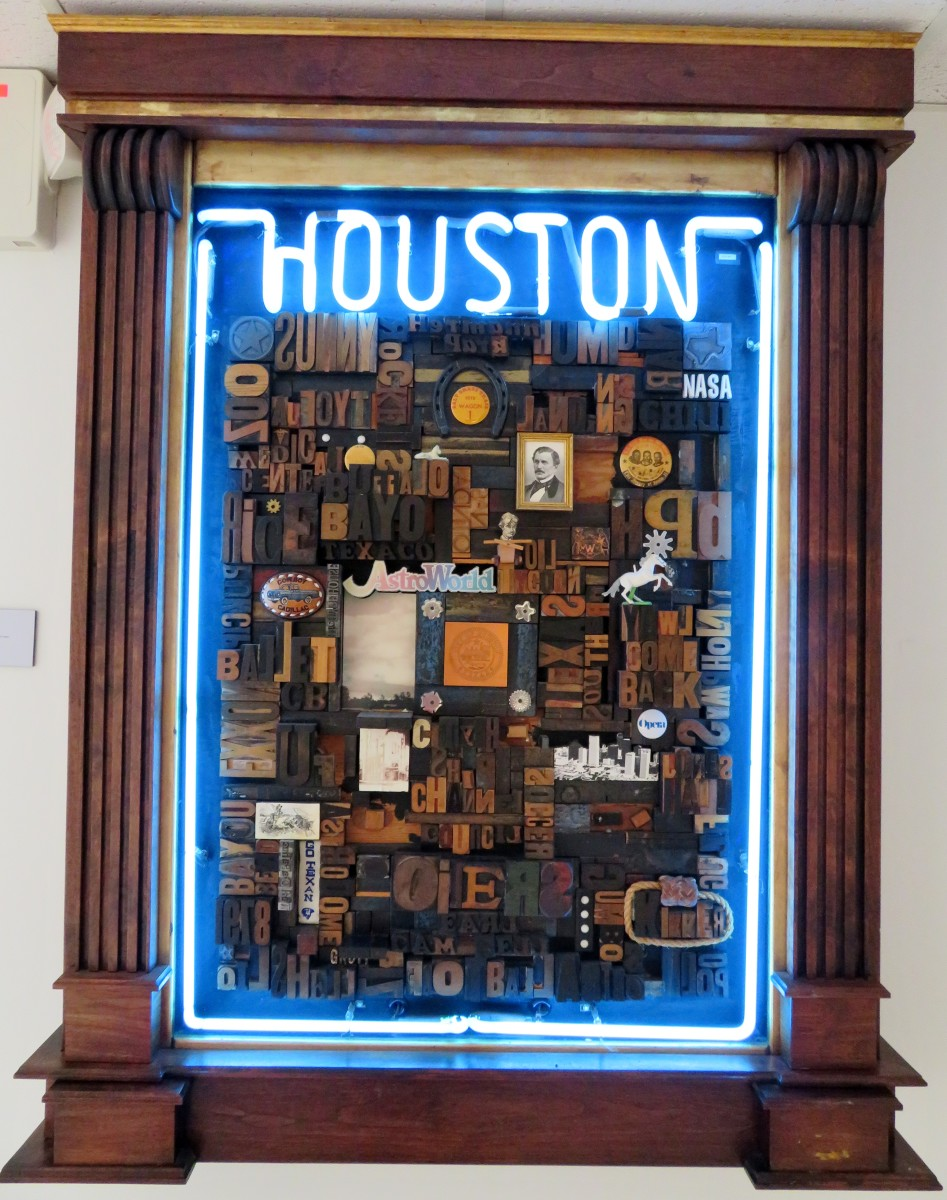 Houston, Unknown date, Jim Groff, Artist. Assemblage with wood type, found objects, and neon