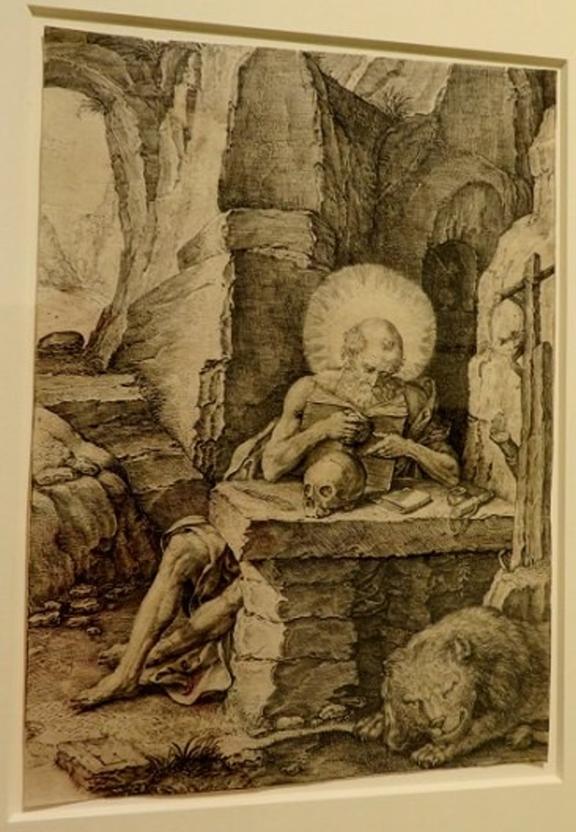 Saint Jerome in a Cave c.16th century Master L.S. (German, Unknown 15th century) Engraving