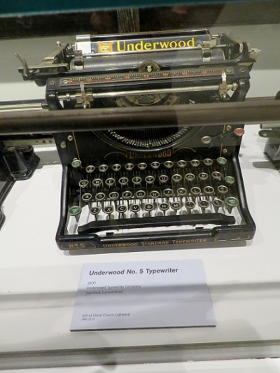 Underwood typewriter on display