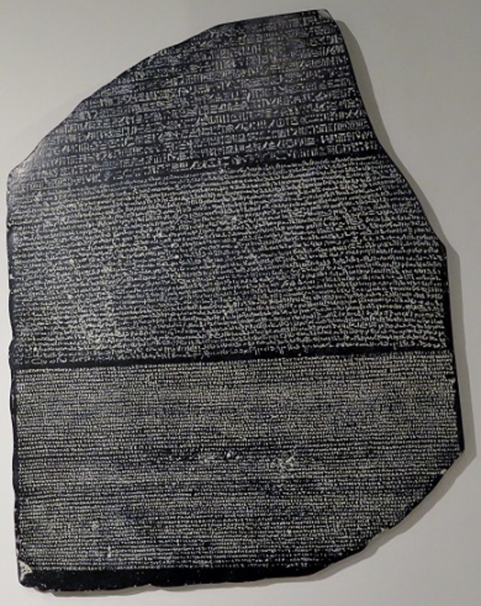 See the Rosetta Stone (replica), circa 196 B.C.E., Egypt. Original is in the British Museum, London, U.K.