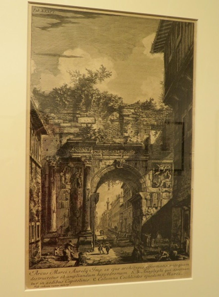 The Arch of Marcus Aurelius from the Campus Martius of Ancient Rome c. 1762 Giovanni Battista Piranesi (Italian, 1720-1778) Etching