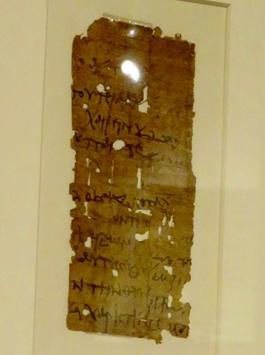 Papyrus Fragment with Greek Writing 300-350 B.C.E.