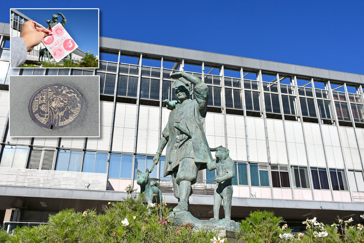 Statue of Momotarō and his army outside Okayama Station. The legendary hero is also found throughout the city on souvenirs and public installations.