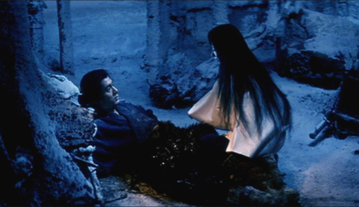 Minokichi meeting the Yuki Onna in 1964's Kwaidan.