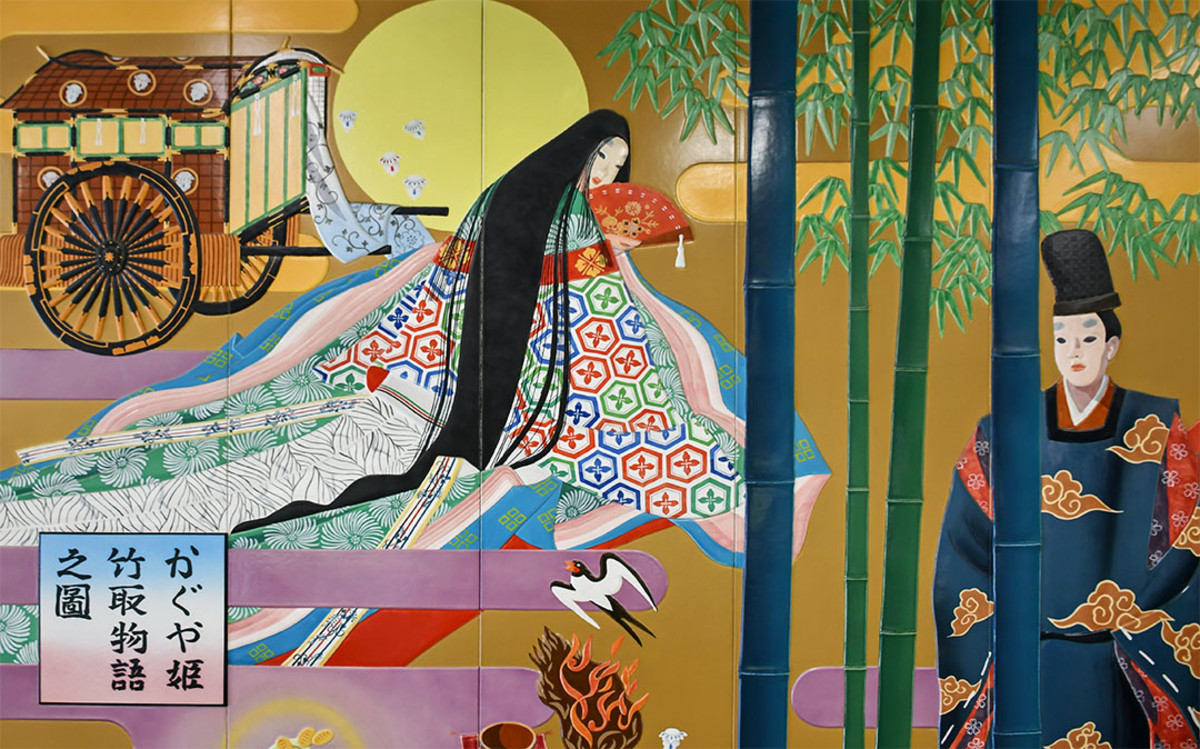 Mural of Kaguya-Hime at Shin Fuji Shinkansen Station. Of note, there are several other Japanese folklore stories associated with magnificent Mount Fuji.