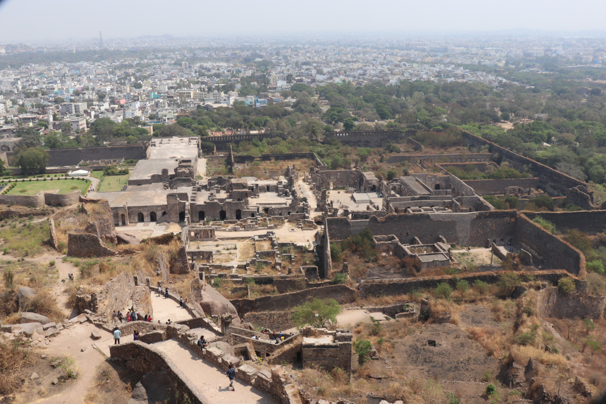 View of  the Golconda fort area from the top