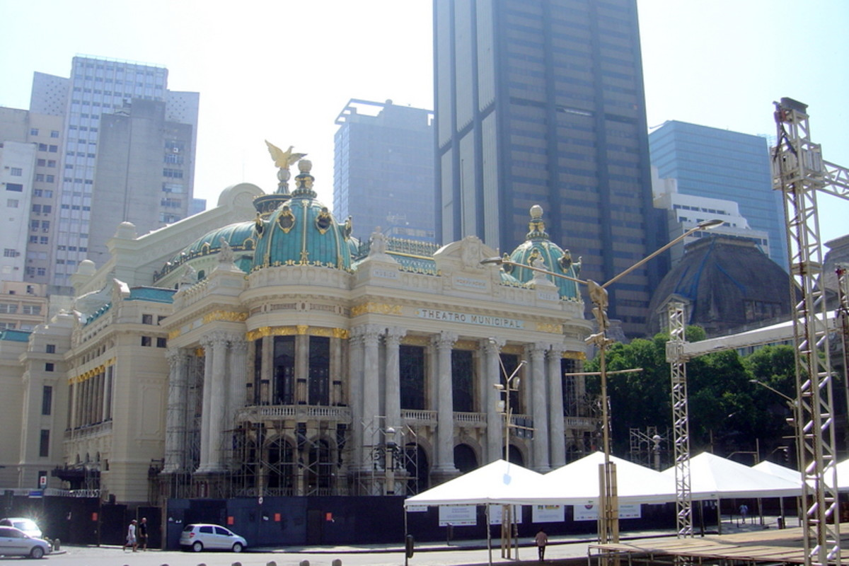 The elegant Theatro Municipal (Municipal Theatre), undergoing renovation a few years ago, in Centro (downtown Rio).