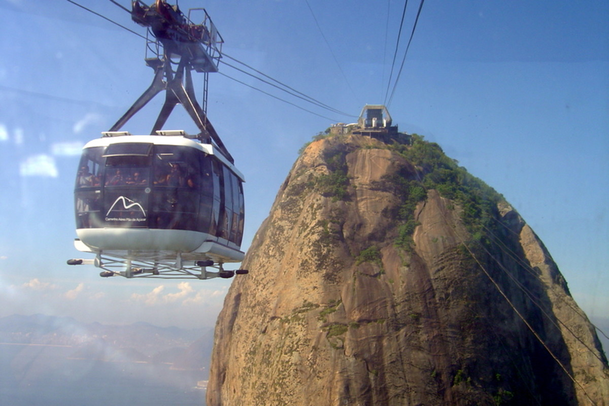 Cable car nearing the top of Pão de Açucar (Sugarloaf Mountain) in Rio.