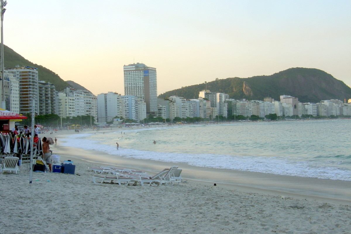 Copacabana Beach, even in late afternoon, is one of the most attractive in South America, developed with hotels, restaurants, and attractive paving stones.