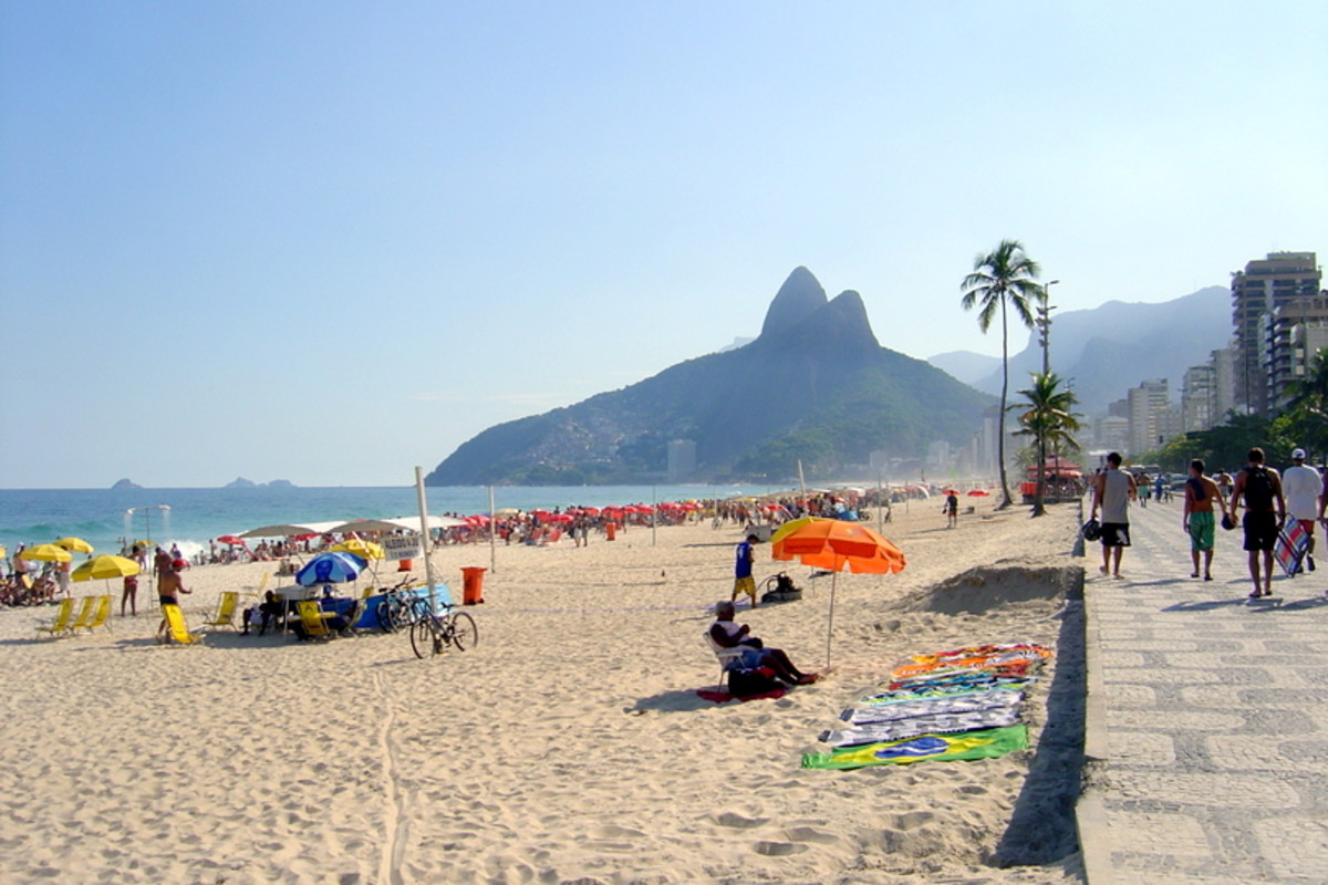 Ipanema Beach is possibly the most famous in Rio and has the wonderful Two Brothers, the peaks, in the background.