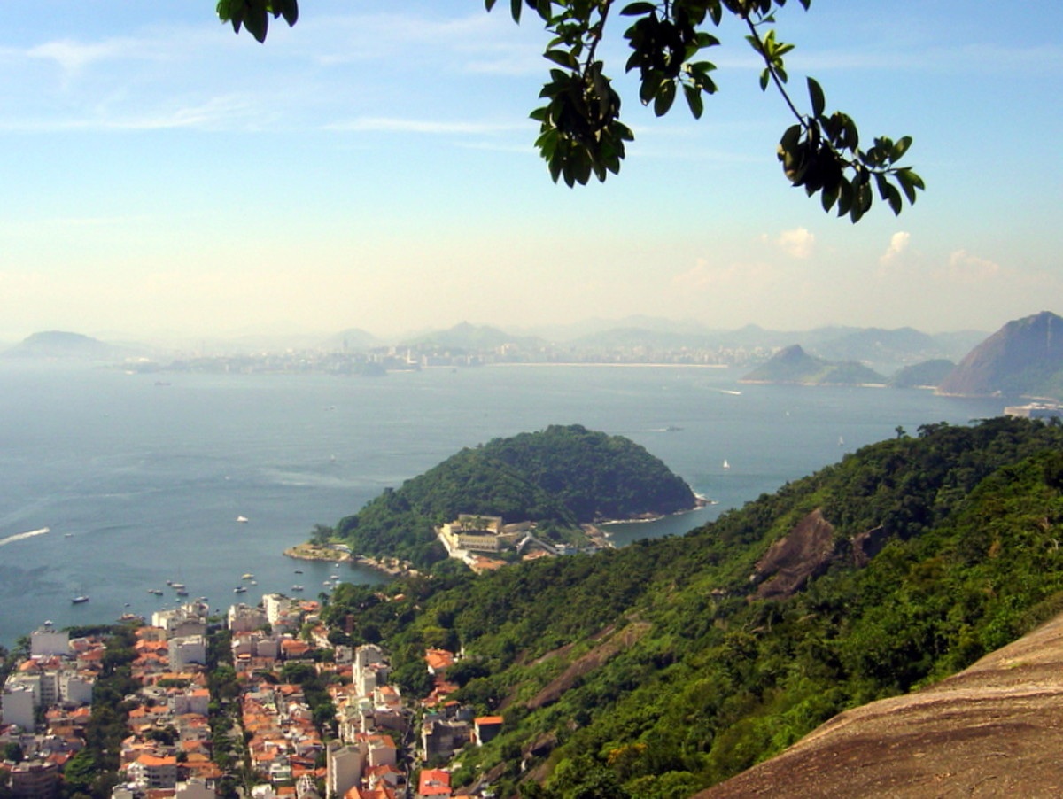View of the Urca neighborhood, which includes homes from the Portuguese colonial era, and Guanabara Bay, from the top of Morro da Urca.