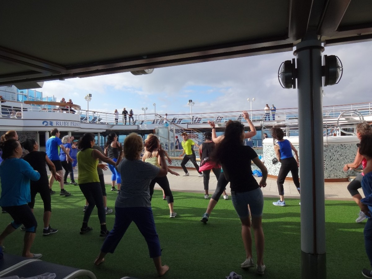 Zumba classes were held each morning on deck.