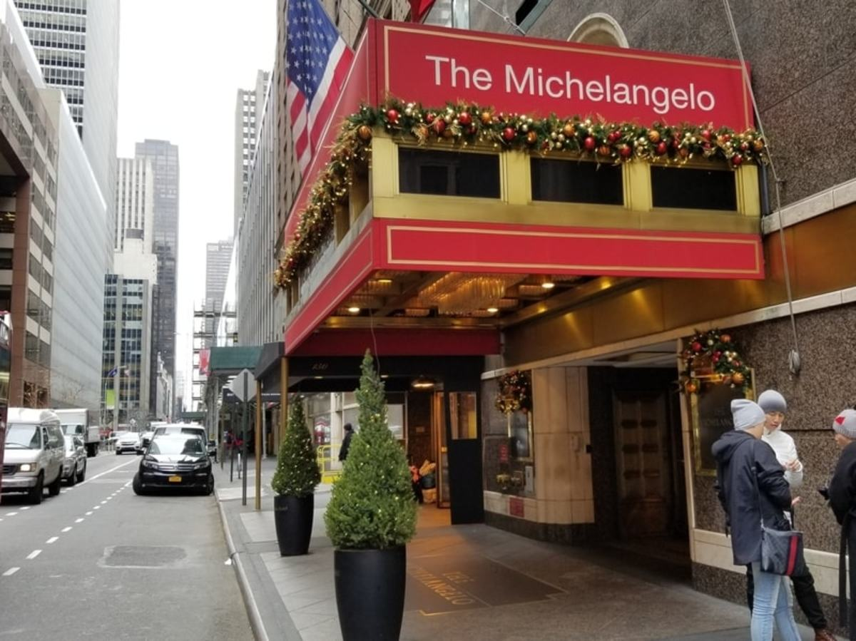 The front of the Michelangelo Hotel located at 152 W 51st Street, New York, NY