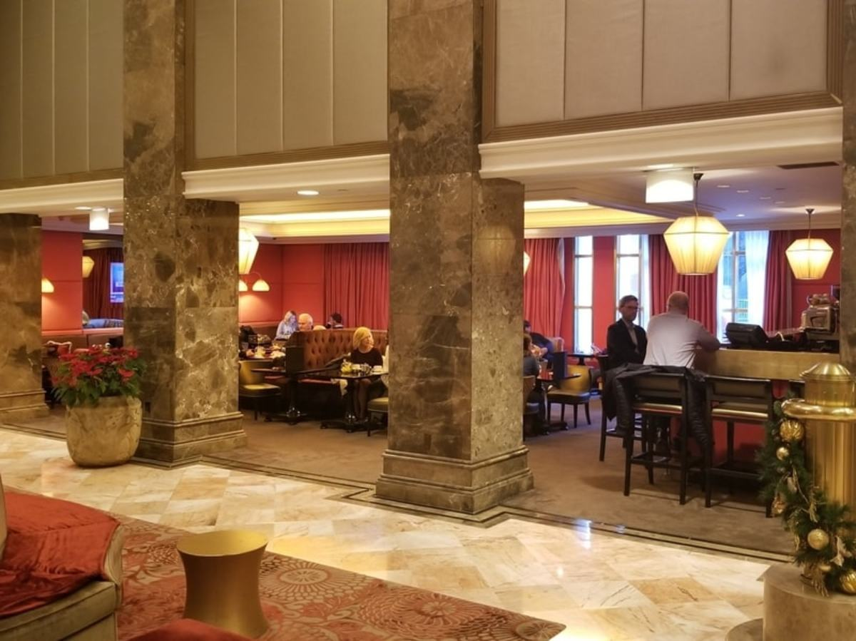 "The in-house bar is ""The Lounge at The Michelangelo Hotel"". It's small but comfortable and you can order food as well as drinks."